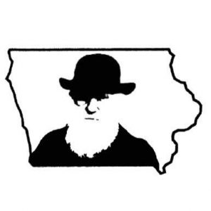 Image of Darwin's portrait framed by the state of Iowa