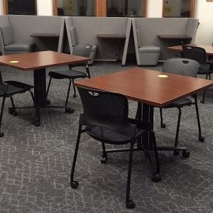 Photo of tables and study booths at the Sciences Library