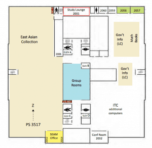 Map of second floor of the UI Main Library