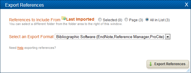 endnote basic export screenshot
