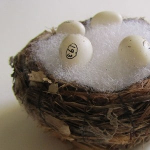 Birds nest filled with numbered white eggs.