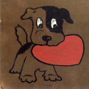 Puppy with a red Valentine in its mouth. Image etched and painted on a copper plate.