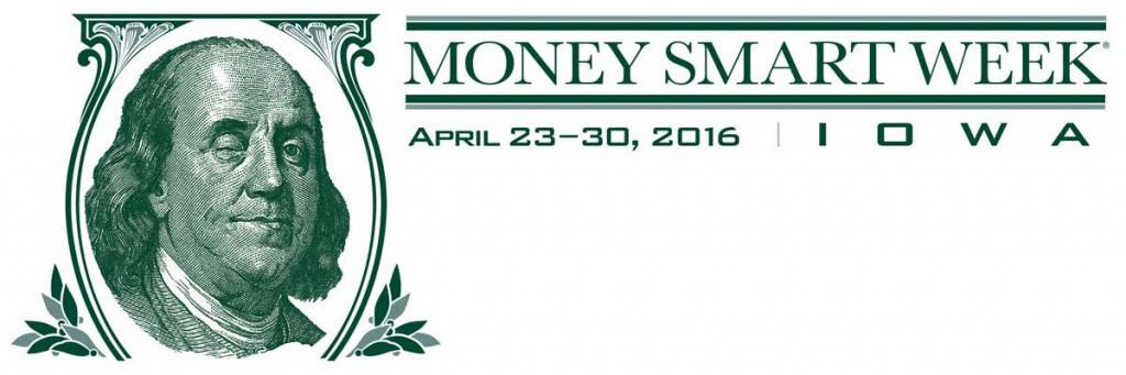 Picture of Benjamin Franklin winking with the text:  Money Smart Week is April 23-30, 2016.