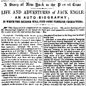 The first chapter of Life and Adventures of Jack Engle, published in the Sunday Dispatch on March 14, 1852. Image Courtesy of the Library of Congress.