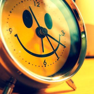 Smiley-faced alarm clock