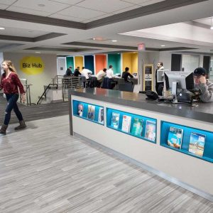 Front desk of new BizHub on the newly renovated third floor Business Library.