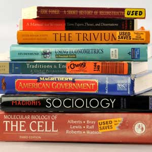 Stack of used text books